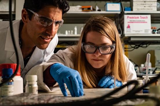 Rice engineer Rafael Verduzco and graduate student Morgan Barnes